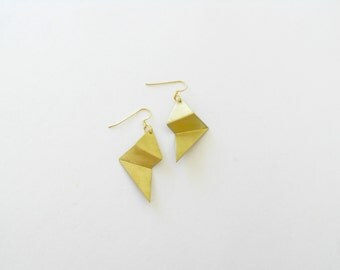 Gold Folded Earrings-Folded Gold Earrings-Gold Earrings-Statement-Modern Jewellery-Contemporary Jewelry-Folded Jewellery-Geometric