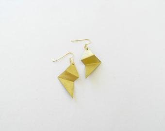 Gold Folded Earrings-Contemporary Jewelry-Folded Gold Earrings-Gold Earrings-Statement-Modern Jewellery-Folded Jewellery-Geometric