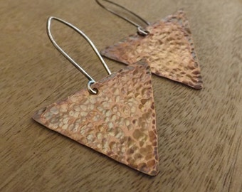 Textured Copper Triangle Earrings, Hammered Copper Triangle Earrings, Copper Jewelry on Etsy.