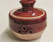 Garlic Keeper Garlic Pot Garlic Holder Handmade Pottery Garlic Bakers Stoneware Brick Red Glaze Chattered Pottery