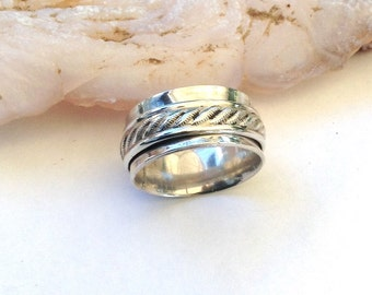 Silver Spinner Ring - Sterling Silver Ring - Serling Spinner Ring For Her - Fidget Ring - Worry Ring