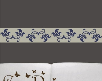 12 ft x 5 inch Reusable Fabric Border,  Removable, reusable and repositionable fabric decal