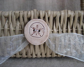 Beach Wedding Flower Girl Basket in Warm Sand  / Natural Basket with Sand Dollar Button for Wedding or Home Decor