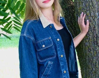 Vintage 1980s Cropped DENIM Jean JACKET with Corduroy Accents G.H.Bass and Co.