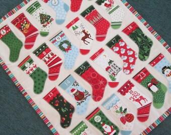 Advent Calendar Christmas Stockings, Scandinavian Christmas Wall Hanging, Holiday Decor, Christmas Decoration