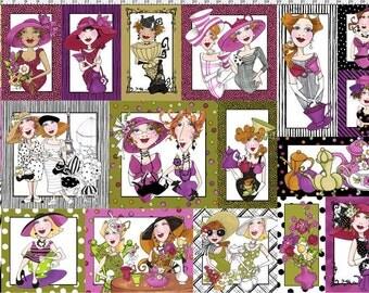 NEW Loralie Designs Ladies Tea Party Panel fabric - 1 Panel