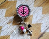 Anchor Chevron Hot Pink and White....Retractable Badge Reel
