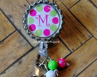 Your Initial on a Retractable Badge Reel...lime green and hot pink