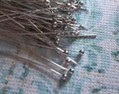 Silver Ball End Headpins - 26 gauge - 2 inch Head Pins - Qty 80 pieces