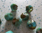 Designer Czech Glass Beads - 9mm Chunky Round -  Aqua & Turquoise Mix with Picasso Ends -  Qty 12