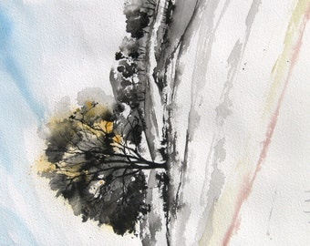 Cottonwood - Original Ink and Watercolor Painting