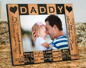 Personalized Daddy Picture Frame-Wood Engraved-Fathers Day Gift-Dad Birthday Gift-Father Frame-Color Choice