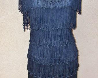Vintage 1980s Stepping Out Black Fringe Flapper Dress Sz 13