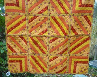 Lap Quilt Wall Hanging Tapestry Baby Crib Patchwork Quilted Fabric Lined Cotton Yellow Red Orange 25 Country Picnic Decor Cover Blanket
