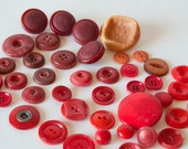 Vintage Button Lot- Reds and Oranges- 42 pc.