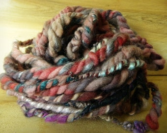 Handspun Hand Dyed Blue, Purple and Red Blue Faced Leicester Yarn: Desire I