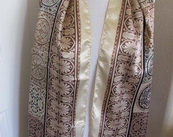 """Beautiful Gold Brown Silky Poly Scarf Wrap - 23"""" x 70"""" Long"""