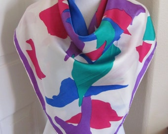 """Large Colorful Ladies White Silk Scarf  - 33"""" Inch 84cm Square"""