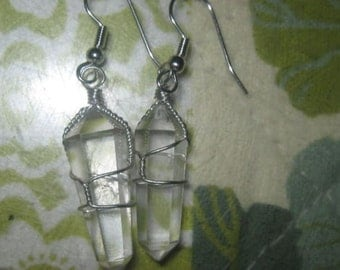 Silver Metal Wire Wrapped Quartz Crystal Point Dangle Earrings