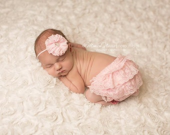 Pink Lace Bloomer Set, bloomer and headband, baby bloomer, diaper cover, photography prop, newborn prop