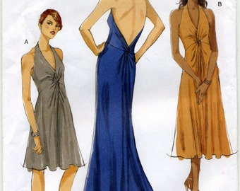 Flared Halter Dress in Three Lengths Sewing Pattern - Vogue 8448 - Sizes 12-14-16-18 - Uncut