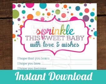 INSTANT DOWNLOAD - Sprinkled with Love - Wish Cards - Perfect for Baby Showers, Rainbow, Baby, Dots, Muti-Color, Polka Dots