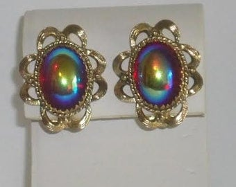 Whiting and Davis Signed Red Aurora Borealis Art Glass Earrings