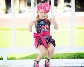Little Girl Bubble Short Romper with Lace Detail Back - Navy Floral Romper - Baby Toddler Romper - Art Gallery Fabric - Toddler Girl Romper