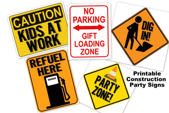 Construction party poster sign PRINTABLE dig in party zone