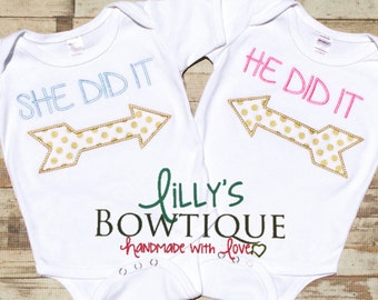 She Did it/He did it Twin Set, Twins, Custom twin shirts/onepiece