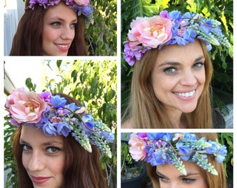 Faux Flower Crown Headband-Ready to Ship! One of a kind-Flower Crown Headband- Flower Crown Weddings-flower crowns- Flower Halos