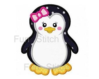 Girl penguin applique machine embroidery design