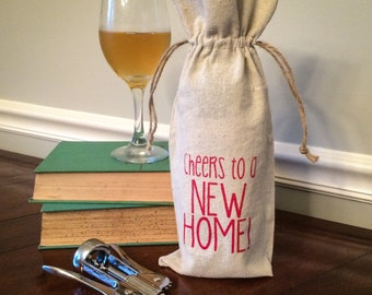 Linen Wine Gift Bag: Cheers to a New Home