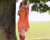 Light Silk & Cashmere Boho Chic Dress Hippie Indian Gypsy Caftan Kaftan with Fringe in Orange  One Size Fits All OSFA