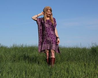 SALE Boho Hippie Gypsy Caftan Dress with Fringe in Purple Silk & Cashmere One Size Lightweight - Multiple Color Choices
