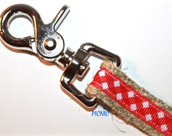 Red and White Dog Leash, 5/8 inch Dog Leash, 4 ft Dog Leash, Red Gingham Dog Leash