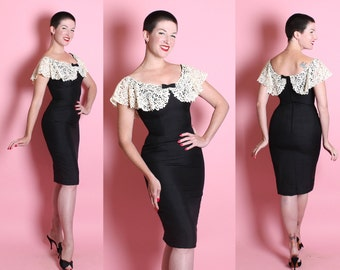 DESIGNER 1950's Couture Inky Black Raw Silk Hourglass Wiggle Cocktail Dress w Large Cream Lace Rhinestone Collar by Mr. Blackwell Design - M