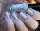 "Nail polish - ""Learned Doctors""  nude/taupe creme with holo and flakies"