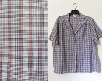 70s Red White and Blue Plaid Short Sleeve Womens Oxford Shirt Hipster Country Western Classic Plus Size