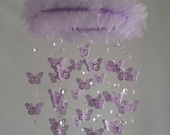 SMALL Crystal and Butterfly Lavender Butterfly Chandelier Nursery Baby Mobile Shabby Chic Nursery Photography Prop