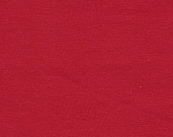 Solid Red 4 Way Stretch 9oz Cotton Lycra Jersey Knit Fabric, 1 Yard