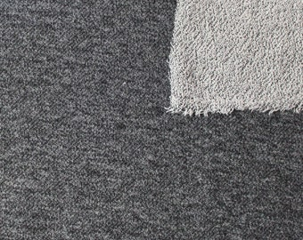 Black Heathered French Terry Knit Sweatshirt Fabric, 1 Yard