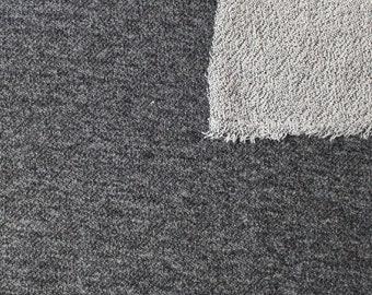 Black Heathered French Terry Knit Sweatshirt Fabric, 1 Yard