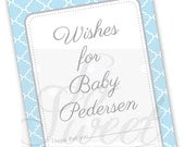 Boys Baby Well Wish Cards - Baby Shower Advice Cards - Blue and Gray - Blue Baby Shower Decorations - Blue Baby Shower Games - Set of 12