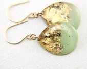 mint and gold glitter drop earrings on gold filled earwires - large size, glitter earrings, gold leaf earrings, gold earrings, gold teardrop