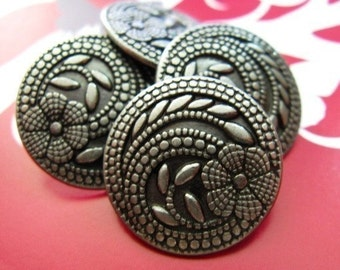 Metal Buttons - Swirl Floret Metal Buttons , Nickel Silver Color , Shank , 0.91 inch , 10 pcs
