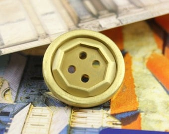 Metal Buttons - Heptagon Carving Dull Gold Hole Buttons - 1 inch - 4 pcs