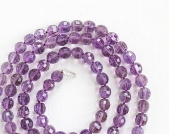 Sale - Vintage Art Deco Genuine Amethyst Bead 14k Gold White Clasp Necklace - 1930s Faceted 300+ Carat Purple Gem Single Strand Fine Jewelry