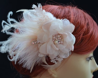 Blush and Champagne Bridal Hair Flower with Lace,Blush flower with blush feathers,rhinestones and pearls, Feather Bridal Flower