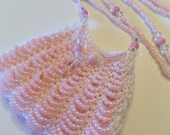 Pearly Pink Beaded Amulet Bag Necklace